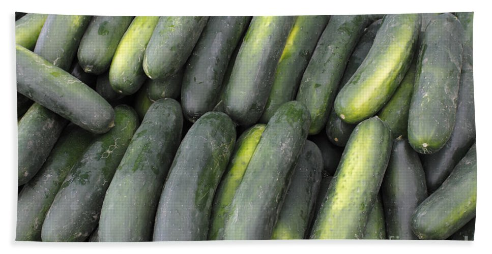 Cucumbers Bath Sheet featuring the photograph Lots Of Cucumbers For Sale by Lee Serenethos