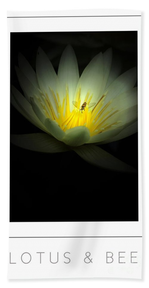 Lotus Bath Sheet featuring the photograph Lotus And Bee Poster by Mike Nellums