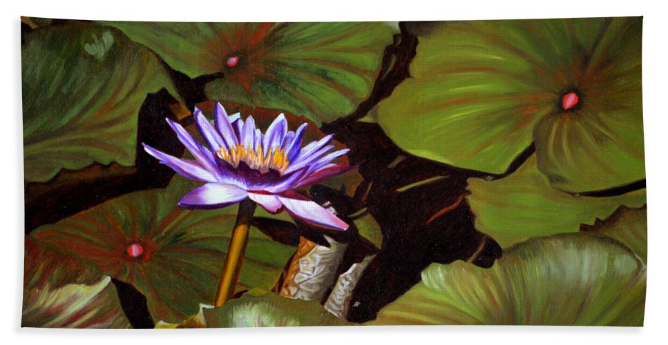 Lotus Hand Towel featuring the painting Lotus One by Thu Nguyen