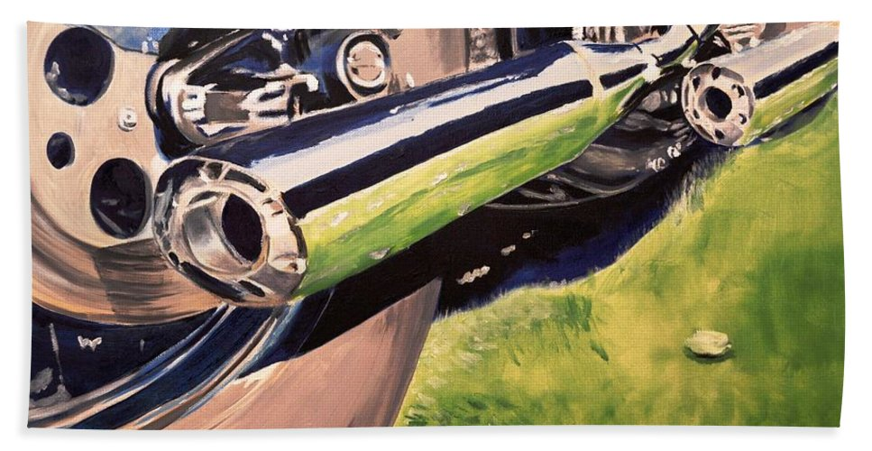 Reflective Pipes Bath Sheet featuring the painting Loud Ride by Ruben Barbosa