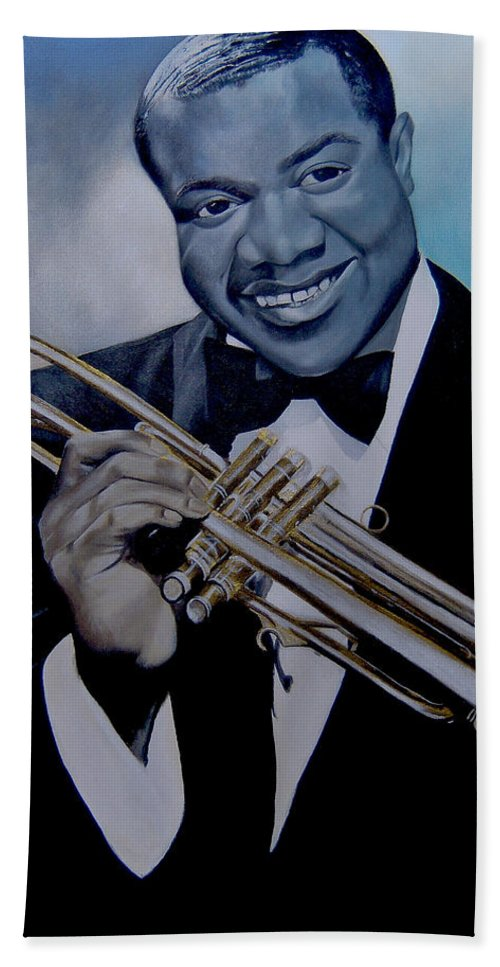 Jazz Hand Towel featuring the painting Louis Armstrong by Chelle Brantley