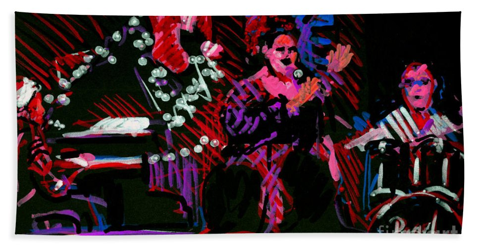 Louise Bath Towel featuring the painting Louise At Jazz Corner by Candace Lovely