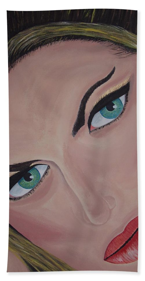 Model Hand Towel featuring the painting Louise by Dean Stephens
