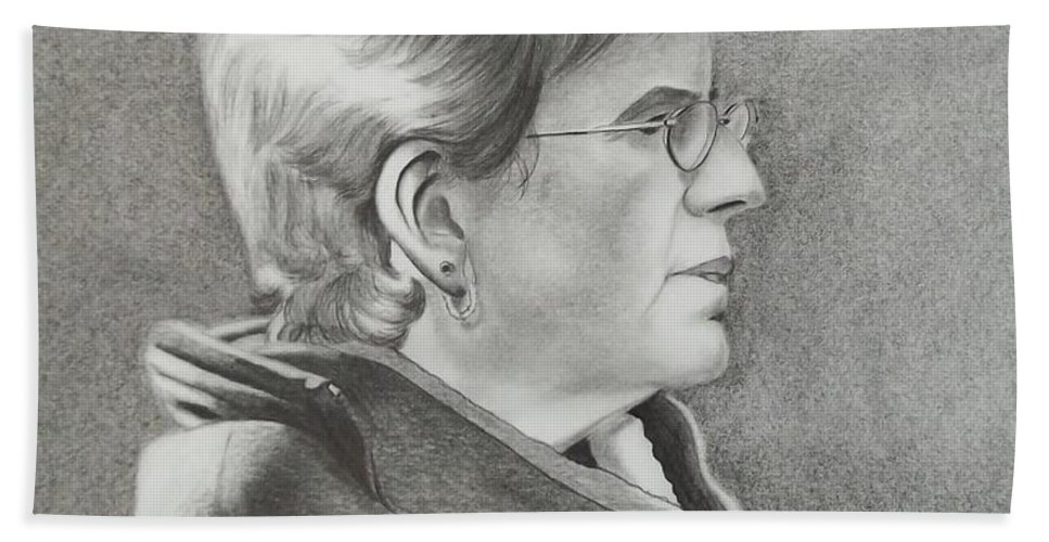 Profile Hand Towel featuring the drawing Louise by Lise PICHE