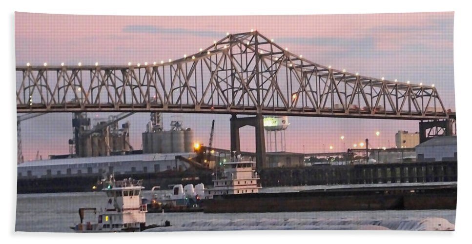 Louisiana Hand Towel featuring the photograph Louisiana Baton Rouge River Commerce by Lizi Beard-Ward