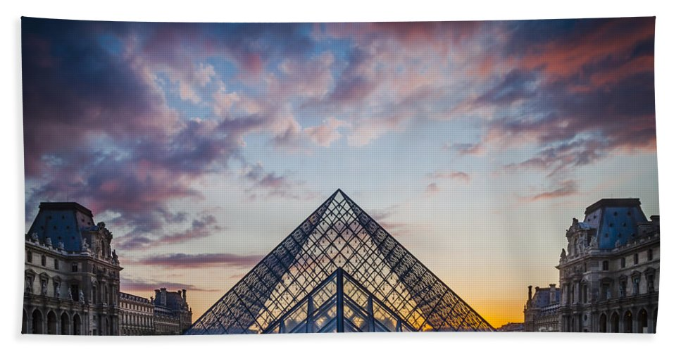 Architectural Bath Sheet featuring the photograph Louve Sunset by Brian Jannsen