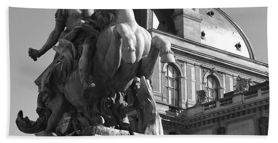 Man Bath Sheet featuring the photograph Louvre Man On Horse by Cheryl Miller
