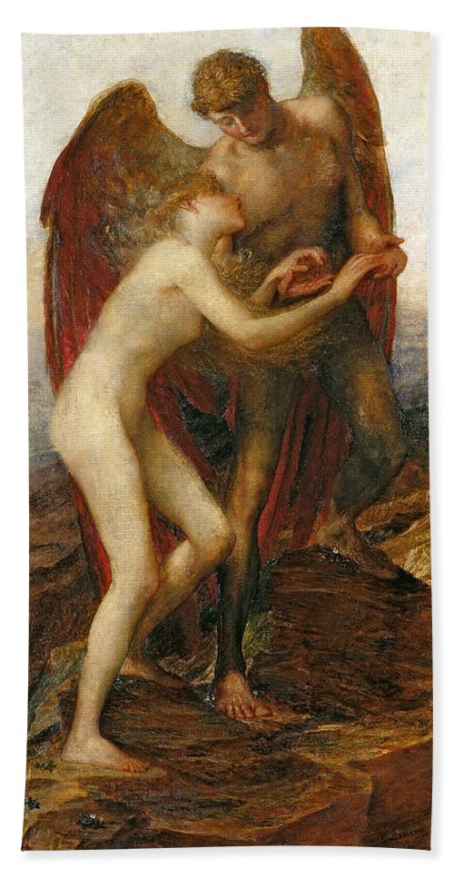 Angel Bath Sheet featuring the painting Love And Life by George Frederick Watts