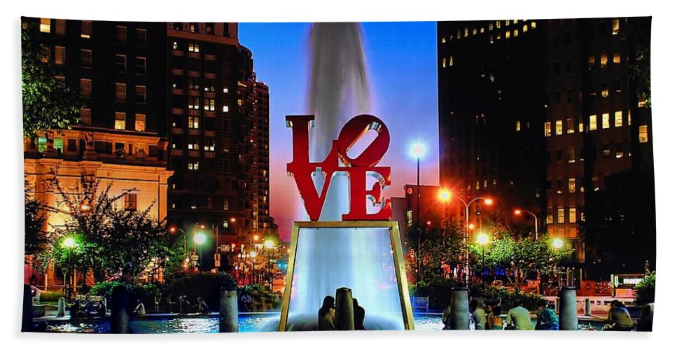 America Hand Towel featuring the photograph Love At Night by Nick Zelinsky