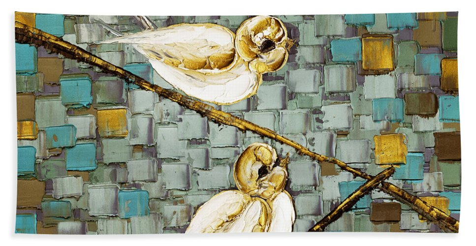 Birds Bath Sheet featuring the painting Love Birds- Warm Tone by Susanna Shaposhnikova