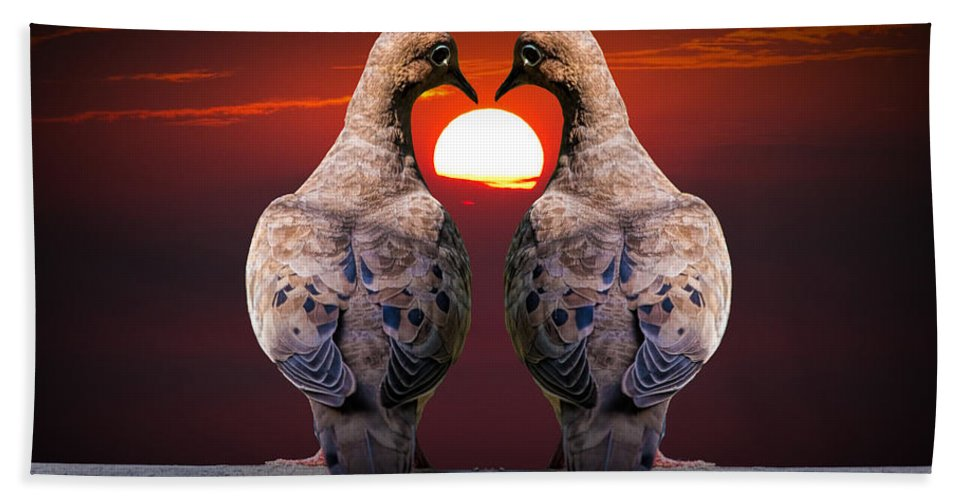 Art Bath Sheet featuring the photograph Love Dove Birds At Sunset by Randall Nyhof