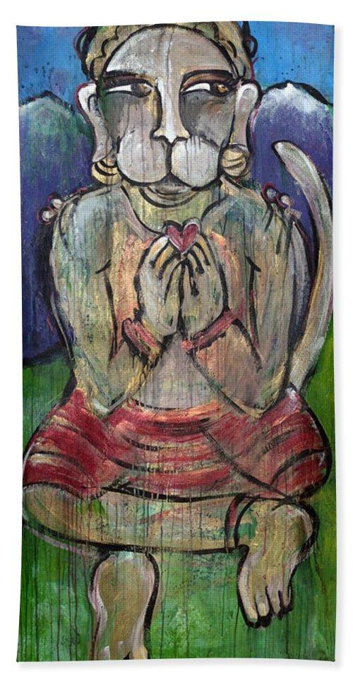 Hanuman Bath Sheet featuring the painting Love For Hanuman by Laurie Maves ART