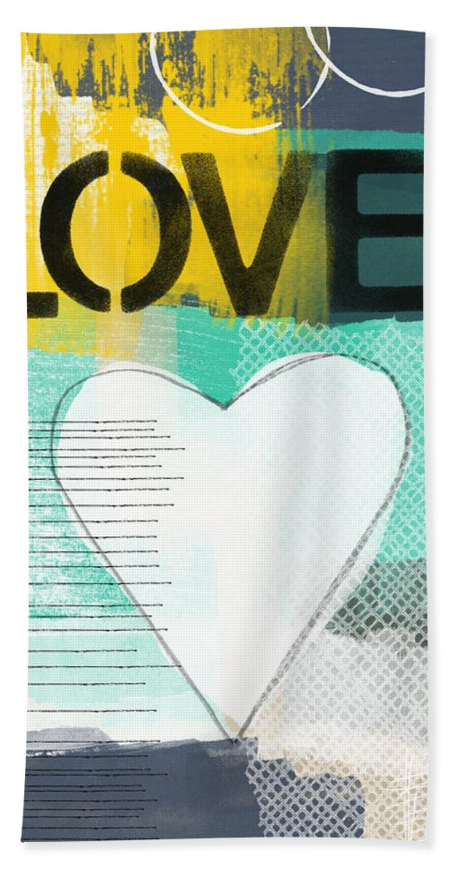 Love Hand Towel featuring the painting Love Graffiti Style- Print Or Greeting Card by Linda Woods