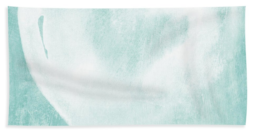 Love Hand Towel featuring the mixed media Love In Aqua by Linda Woods