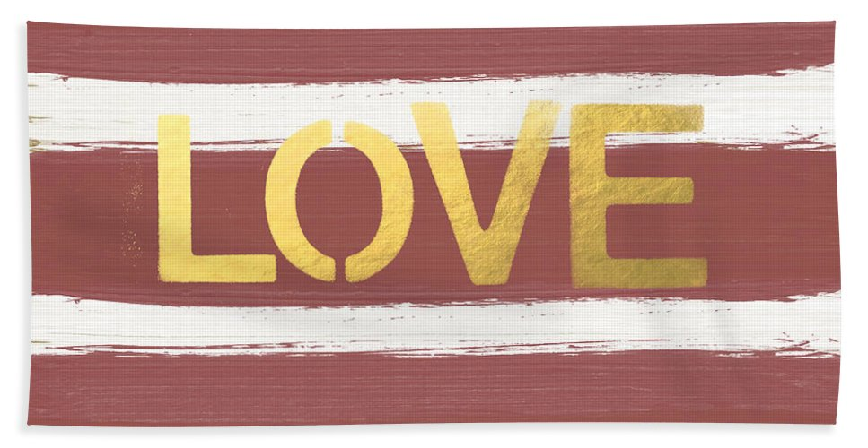 Stripes Bath Towel featuring the painting Love In Gold And Marsala by Linda Woods