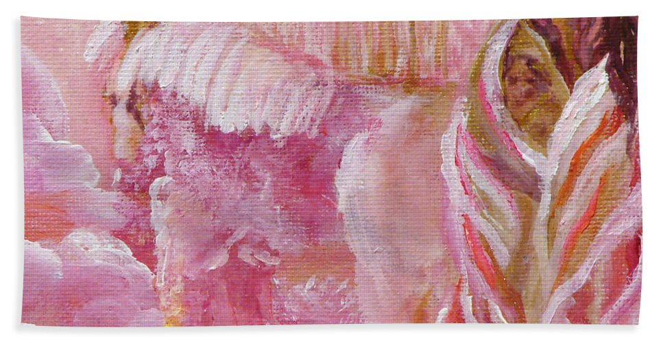 Pink Bath Sheet featuring the painting Love Is Crowned by Ashleigh Dyan Bayer