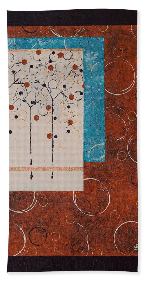 Abstract Hand Towel featuring the painting Love Letters by Wendy Provins