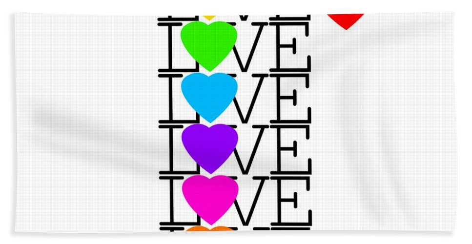 Love Hand Towel featuring the painting Love Love Love by Charles Stuart