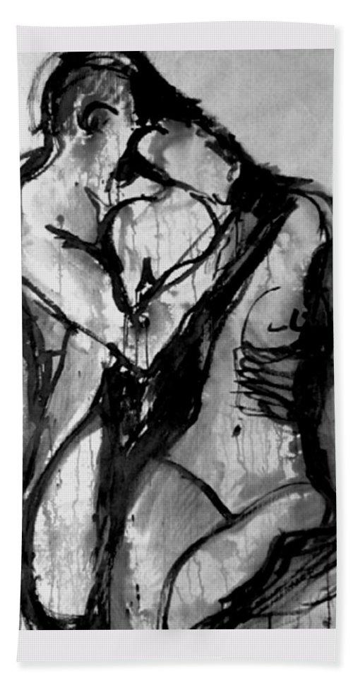 Couple Hand Towel featuring the painting Love Me Tender by Jarmo Korhonen aka Jarko