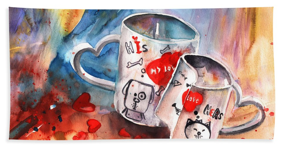 Love Bath Sheet featuring the painting Love Mugs by Miki De Goodaboom