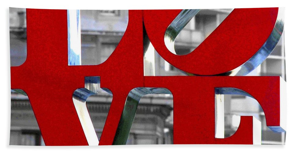 Love Philadelphia Red Hand Towel featuring the photograph Love Philadelphia Red by Terry DeLuco