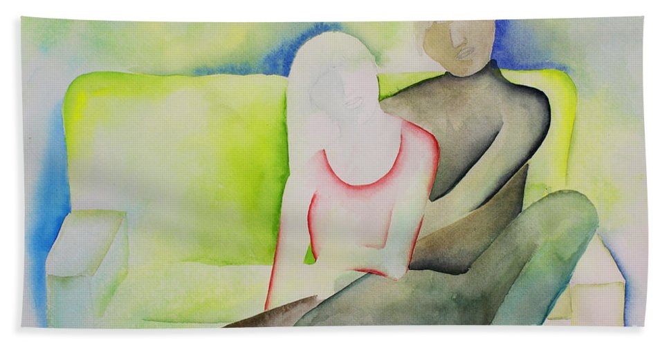 Intimacy Bath Sheet featuring the painting Sofa by Shannan Peters