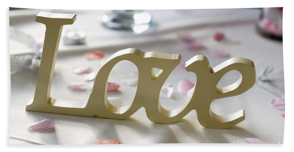 Love Hand Towel featuring the photograph Love Word At A Wedding by Lee Avison
