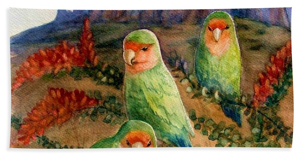 Birds Hand Towel featuring the painting Lovebirds by Marilyn Smith