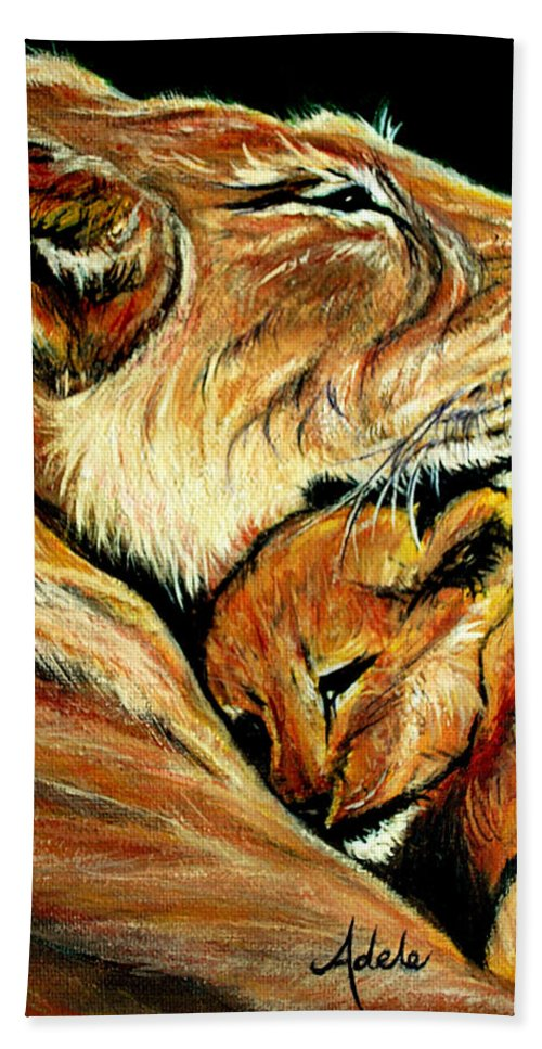 Lion Bath Sheet featuring the painting Loved by Adele Moscaritolo