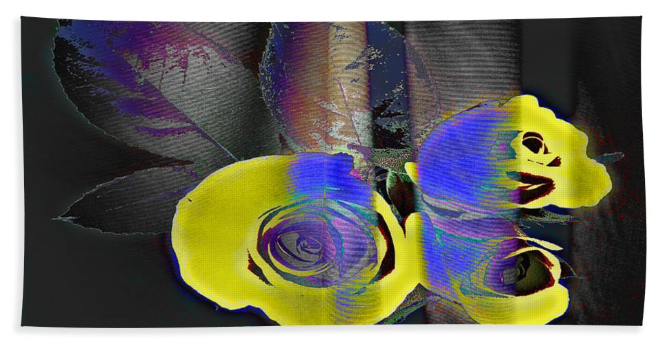 Yellow Rose Image Bath Sheet featuring the digital art Lovely II by Yael VanGruber