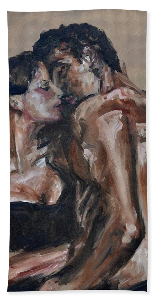 Kiss Hand Towel featuring the painting Lovers by Donna Tuten