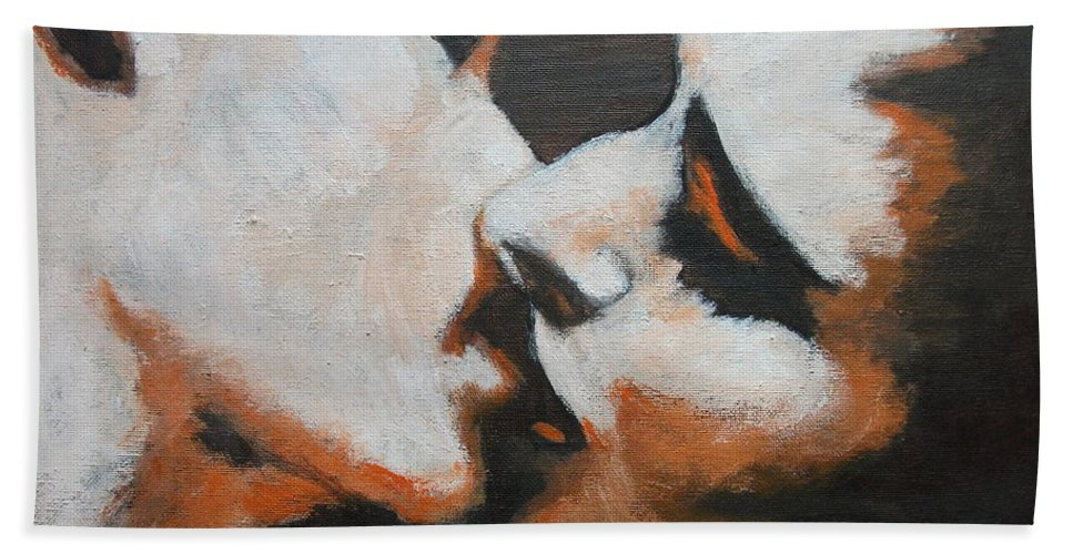 Lovers Hand Towel featuring the painting Lovers - Kiss6 by Carmen Tyrrell