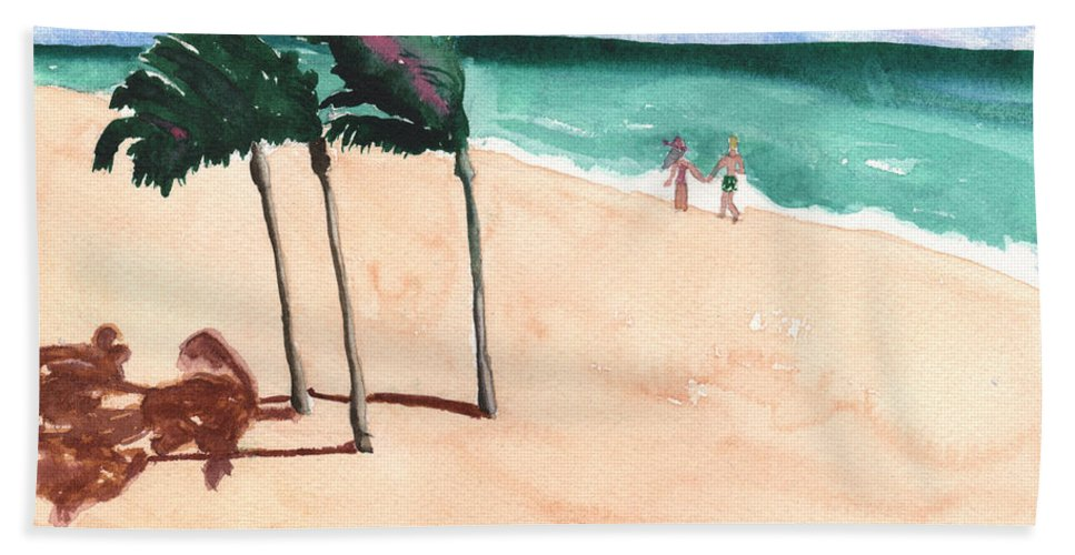 Beach Bath Sheet featuring the painting Lovers On The Beach by Mickey Krause