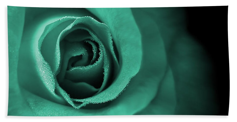 Rose Hand Towel featuring the photograph Love's Eternal Teal Green Rose by Jennie Marie Schell