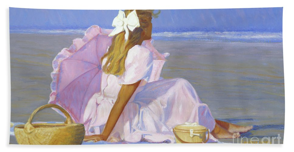 Impressionist Hand Towel featuring the painting Low Tide Lady by Candace Lovely
