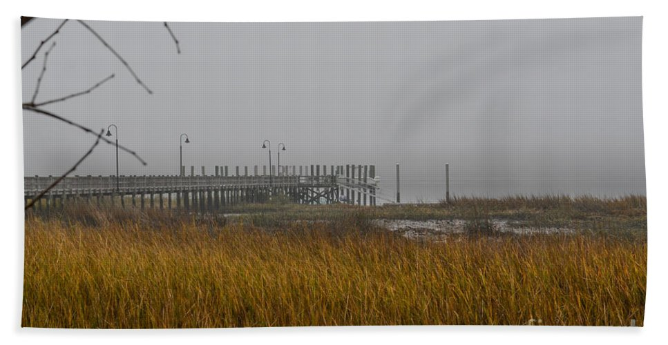 Fog Bath Sheet featuring the photograph Lowcountry Marsh Fog by Dale Powell