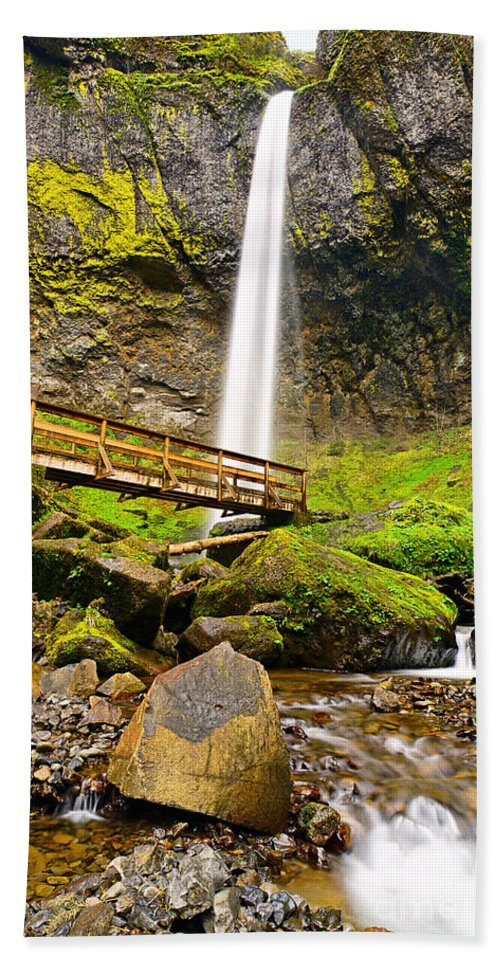 Elowah Falls Bath Sheet featuring the photograph Lower Angle Of Elowah Falls In The Columbia River Gorge Of Oregon by Jamie Pham