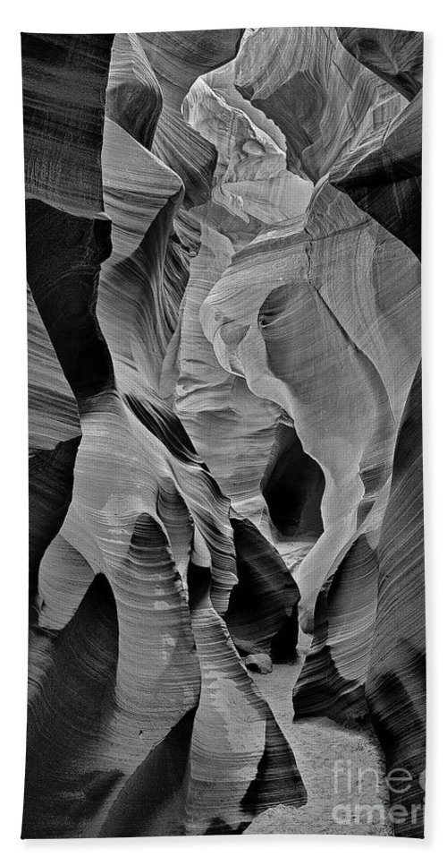 Lower Antelope Slot Canyon Hand Towel featuring the photograph Lower Antelope Glow Black And White by Jerry Fornarotto