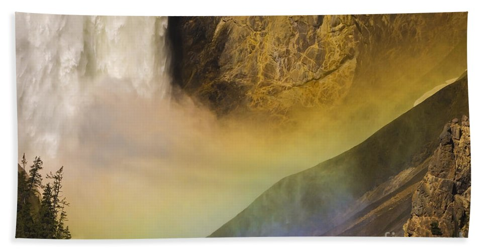 Yellowstone National Park Hand Towel featuring the photograph Lower Falls Rainbow - Yellowstone by Sandra Bronstein