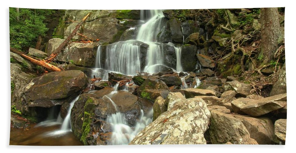 Laurel Falls Hand Towel featuring the photograph Lower Laurel Falls by Adam Jewell