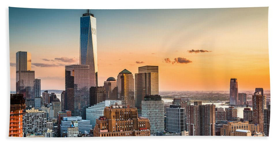 Broadway Hand Towel featuring the photograph Lower Manhattan At Sunset by Mihai Andritoiu