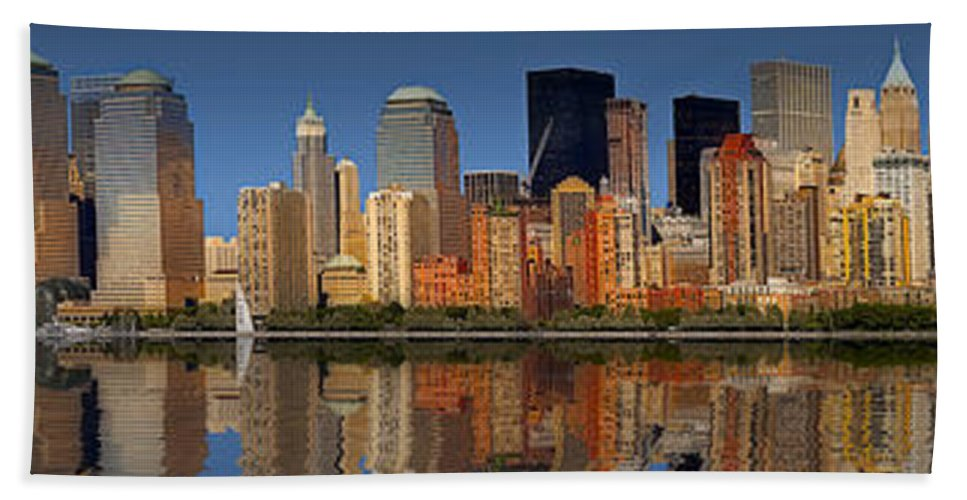America Bath Sheet featuring the photograph Lower Manhattan Skyline by Susan Candelario