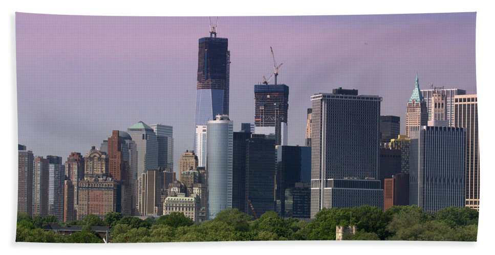 World Trade Center Hand Towel featuring the photograph Lower Manhatten by Donna Walsh