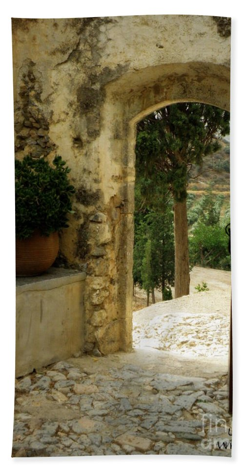 Monastery Bath Sheet featuring the photograph Lower Preveli Monastery Crete 3 by Lainie Wrightson