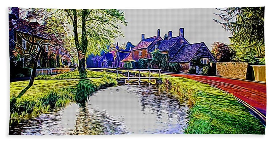 River Hand Towel featuring the photograph Lower Slaughter 1 by Ron Harpham