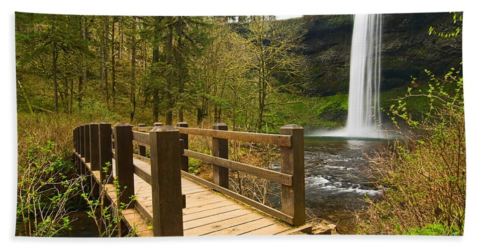 Lower South Falls Bath Sheet featuring the photograph Lower South Waterfall With Footbridge In Oregon Columbia River Gorge. by Jamie Pham