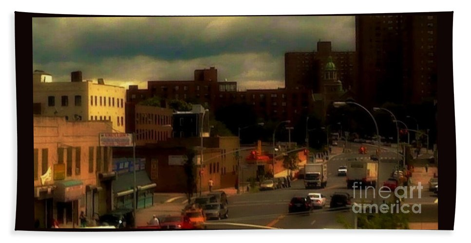 New York Hand Towel featuring the photograph Lowering Clouds by Miriam Danar