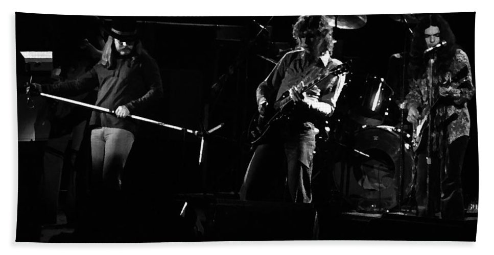 Lynyrd Skynyrd Bath Sheet featuring the photograph Ls Spo #35 Enhanced Bw by Ben Upham