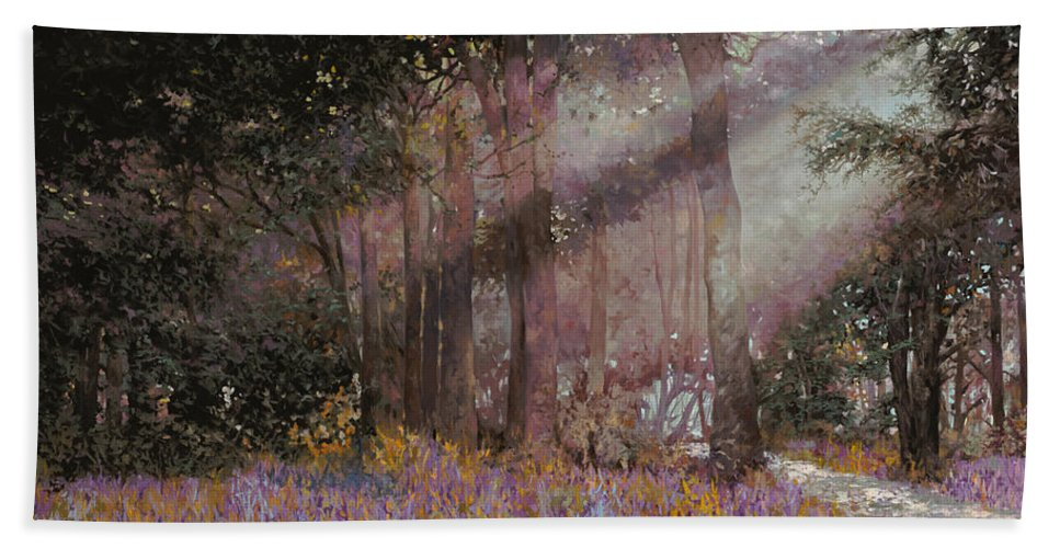 Wood Bath Towel featuring the painting Luci by Guido Borelli