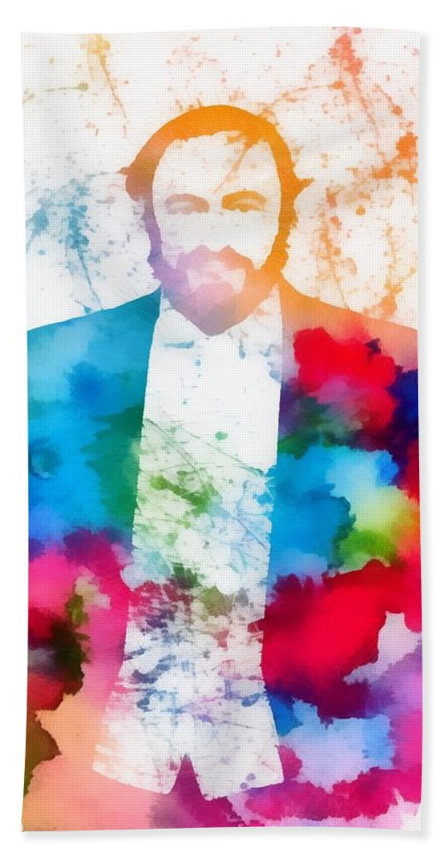 Luciano Pavarotti Paint Splatter Hand Towel featuring the painting Luciano Pavarotti Paint Splatter by Dan Sproul